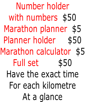 Number holder  with numbers  $50 Marathon planner  $5 Planner holder     $50 Marathon calculator  $5 Full set        $50 Have the exact time For each kilometre At a glance